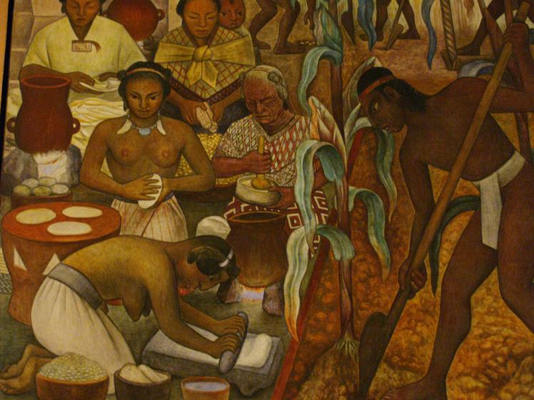 La gran invención del maíz : hace más de 10,000 años. Hay una relación indisoluble entre el maíz y el ser humano: losdos se necesitan para subsistir. El maíz no existía hace unos 10 mil años, fue inventado por el hombre prehispánico y la historia de México no podría entenderse sin el maíz. La tortilla, es el reflejo de una democracia social por excelencia, todos la comemos, sin importar el nivel socio económico, ni la región, ni las circunstancias de cada quien. La diferencia está en su contenido.