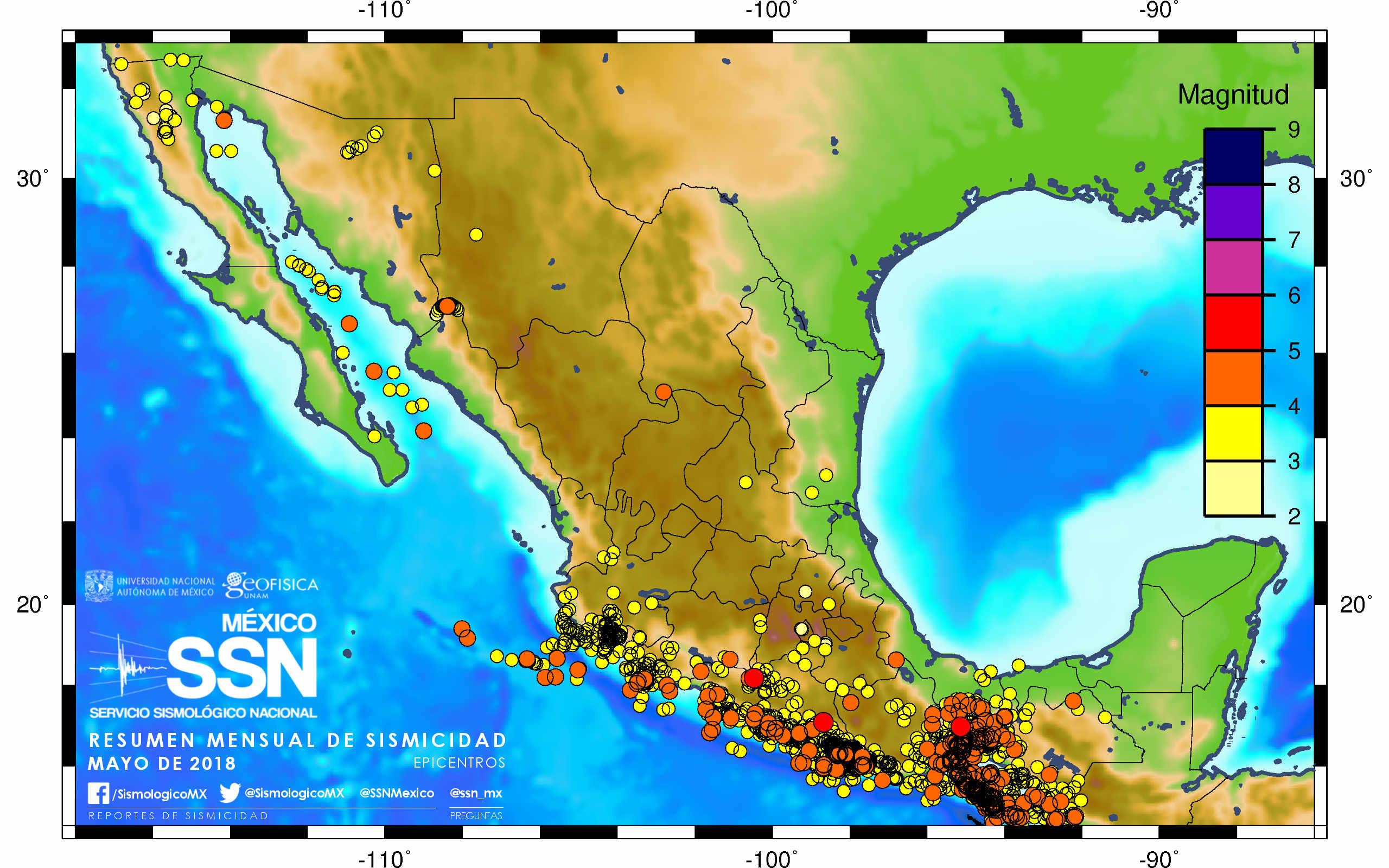 Resumen mensual de sismicidad Mexico Mayo de 2018