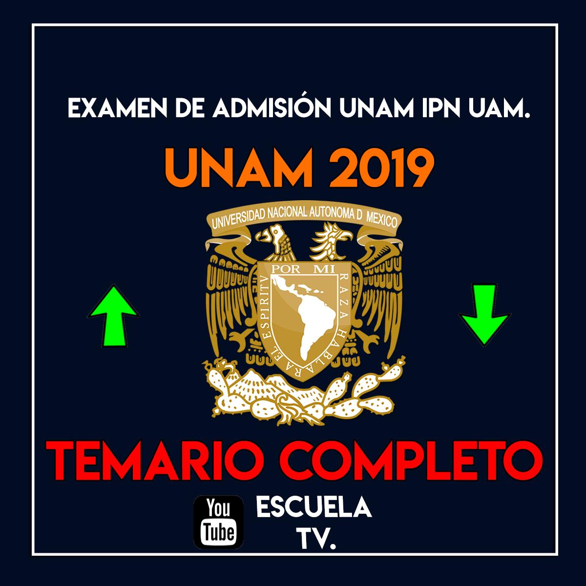 Temario completo para examen de admisión UNAM 2019.